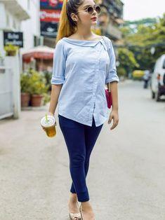 Fashion striped shirt - White and Blue Striped Shirt white blue blueandwhite women fashion style buttonlovers womensfashion Short Kurti Designs, Kurta Designs Women, Blouse Designs, Stylish Dress Designs, Designs For Dresses, Mode Outfits, Fashion Outfits, Fashion 2018, Womens Fashion
