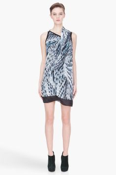 Helmut Lang Blue Draping Pheasant Print Dress -  Helmut Lang Blue Draping Pheasant Print Dress Helmut Lang Sleeveless dress in tones of blue and white. V_neck collar with folded draping detail at shoulder and front. Dark blue trim. Lined. Tone on tone stitching. Price $625.00 Click HERE for more Information