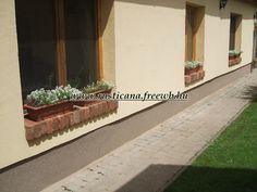tégla párkány Old Bricks, Sidewalk, Exterior, House Design, Windows, Plants, Home, Side Walkway, Ad Home