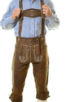 The MAX Lederhosen are our latest addition to our authentic lederhosen line up. These are made out of high quality nubuk leather. Skilled craftsmanship created one of our most beautiful lederhosen which will be a showstopper at your next Oktoberfest Mens Lederhosen, German Lederhosen, Blue Jeans, Dirndl Dress, Overalls, Shorts, Sports Uniforms, Suspenders, Oktoberfest