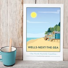 Wells next the sea, North Norfolk Print by Tabitha Mary  £16.00–£105.00  Wells-Next-The-Sea is one of the most attractive towns on the North Norfolk Coast. With a long sweeping beach bordered by pine woodland, fishing boats and quaint town. I am inspired by the old railway posters, my prints are now available as digital prints, signed Giclee prints both with an option of framing.