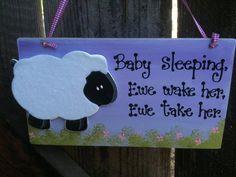 Sheep Ewe Lamb Baby Sleeping sign girl lilac Nursery room decoration handmade wooden plaque farm animal child children kids