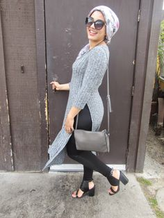AboutThatWrap: Monochrome Look- Grey Long Sweater + Grey Egyptian Statement Necklace & Black Strap Heels