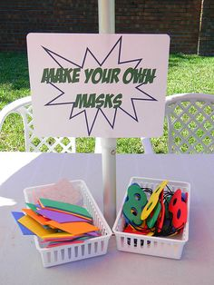 "Make your own masks- ""SuperHero Swim Party"" 