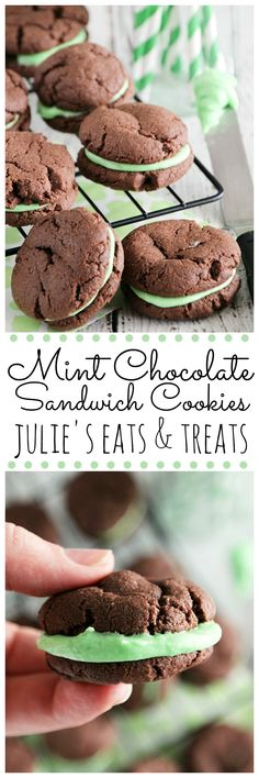Mint Chocolate Sandwich Cookies ~ Quick& Easy, Soft, Chewy Chocolate Cookies Stuffed Creamy Mint Filling! ~ http://www.julieseatsandtreats.com