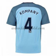 Billige Fodboldtrøjer Manchester City 2016-17 Kompany 4 Kortærmet Hjemmebanetrøje