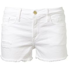 Frame Denim Le Cut Off White Denim Shorts ($265) ❤ liked on Polyvore featuring shorts, bottoms, pants, white, denim short shorts, short jean shorts, white jean shorts, jean shorts and white cotton shorts