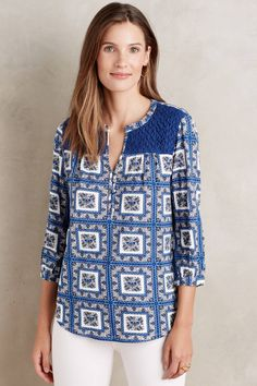 ANTHROPOLOGIE Belmar Top Blouse Shirt by Porridge Blue 3/4 Sleeve Size XL $68 #Anthropologie #Blouse #Casual