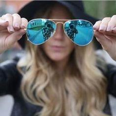 ray ban aviator azul espelhado