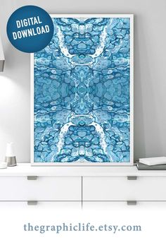 Satisfy your love of blue and make a quick change to your home or office by getting instant access to this abstract downloadable art. Click through to view more styles! #DigitalArt #InstantArt #ColorfulDigitalArt #PourArtwork #FluidArt Jewel Tone Colors, Popular Art, Black And White Drawing, Living Room Art, Abstract Wall Art, Wall Art Prints, Online Printing, Instant Access, Canvas Art