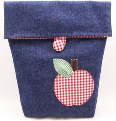 a cute lunch bag idea with denim- i think it would be cute to incorporate a denim pocket, too. Denim Ideas, Fabric Bins, Recycled Denim, Denim Bag, Patch Quilt, Brown Bags, Bag Storage, Bag Making, Purses And Bags