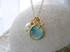 Aqua Necklace,Starfish necklace,14k gold filled,Pearl Necklace,March Birthstone,Bridesmaid Gifts,Beach Wedding,Aqua Jewelry,Starfish Charm by LetItBeLove on Etsy