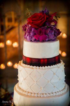 Scottish plaid inspired wedding cake with reds and purples