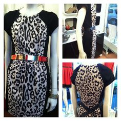 Animal Print dress with black side paneling @ White Pony