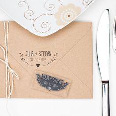 Einladungskarten - Stempel Hochzeit   Name & Datum - Herz und ... - ein Designerstück von boxDesign bei DaWanda