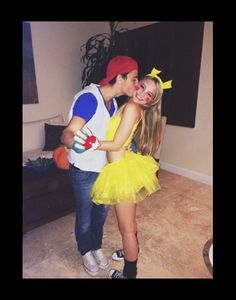 """Halloween is the best time of the year to show off how cute you and your """"boo"""" are! What better way to do so than with adorable and easy couples costumes? Keep reading for 20 of the best couples Halloween costume ideas! Flo from Progressive a Pikachu Halloween Costume, Cute Couple Halloween Costumes, Cute Halloween Costumes, Halloween Kostüm, Halloween Cosplay, Pikachu And Ash Costume, College Couple Costumes, Couple Costume Ideas, Disney Couple Costumes"""