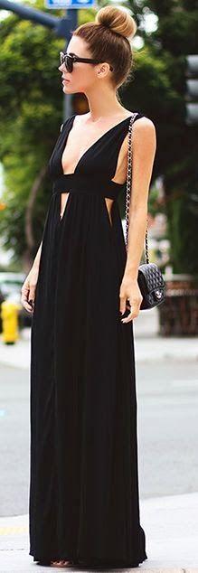 #street #style summer : black maxi dress @wachabuy