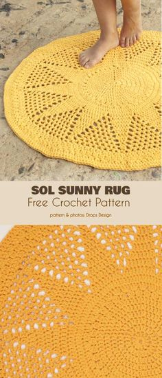 Newest Photographs Crochet rug free Ideas Sol Sunny Rug Free Crochet Pattern Crochet Mat, Crochet Rug Patterns, Crochet Carpet, Crochet Home, Crochet Crafts, Crochet Doilies, Crochet Flowers, Crochet Projects, Free Crochet