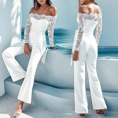 2018 Lace Summer Rompers Womens Jumpsuit Sexy Ladies Casual Elegant Off shoulder Long Trousers Overalls Black Jumpsuit Black Overalls, Overalls Women, Rompers Women, Jumpsuits For Women, White Lace Jumpsuit, Cream Jumpsuit, Black Jumpsuit, Summer Jumpsuit, White Romper