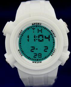 DW357B White Kast Chronograph BackLight White Bezel Mannen Vrouwen Digital Watch