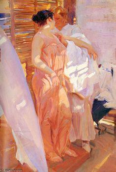 la bata rosa by Joaquin Sorolla Y Bastida (1863-1923, Spain)