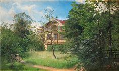 Alfred Thorne (1850-1916): Hus i lummig trädgård, 1906