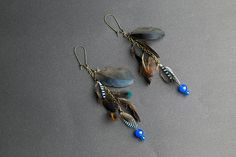 Iridescent blue feather earrings with Blue by NatureFeatherJewelry