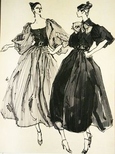 Fashion illustrator Kenneth Paul Block, one of my hero in the field of fashion illustration, have just passed away, at age of A very sa. Illustration Mode, Fashion Illustration Sketches, Fashion Sketchbook, Fashion Design Sketches, Moda Fashion, Fashion Art, Fashion Vocabulary, Pose, Couture