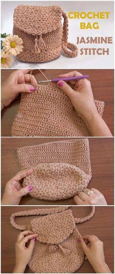 Crochet Bag Jasmine Stitch Free Pattern [Video] Knitting For BeginnersKnitting FashionCrochet ProjectsCrochet Ideas Bag Crochet, Crochet Shell Stitch, Crochet Handbags, Crochet Purses, Crochet Clothes, Crochet Stitches, Crochet Baby, Crochet Bag Free Pattern, Crochet Backpack Pattern