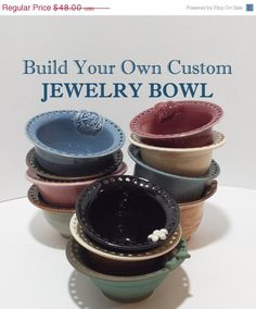 Jewelry Bowl Bracelet Catcher Earring Organizer - Build Your Own You Choose…