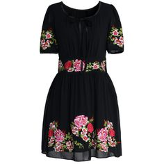 Chicwish Rose Embroidered Chiffon Dress in Black (71 CAD) ❤ liked on Polyvore featuring dresses, vestidos, black, black floral print dress, heart dress, chiffon dress, flower pattern dress and floral print dress
