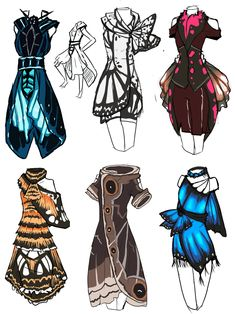 hokaidoplanet:  tipsy-arachnid:  cat-chit-ananda:  animatics-comics:  HHHmmmmm~ Dresses based on butterflies i saw at butterfly world.Was gonna make fake pokemon BUT NO. DRESSES.   I would wear all of these forever.  I would wear either of the ones on the right.  i have a need for that first one  That bottom middle one. Unf
