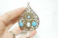 Vintage Jewelry Repurposed NECKLACE Pendant LIGHT BLUE FAUX PEARL DROP CAMEO !! eBay TALK: Get answers and con...