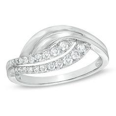 1/3 CT. T.W. Diamond Swirl Ring in 10K White Gold - Zales