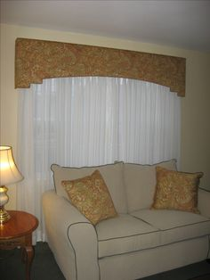 Step Cornice over Sheers, Decorative Throw Pillows