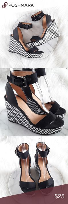 """Witchery """"Pippa"""" Black & White Wedges Sz 7 Gorgeous wedges!  Gently used  Have been cleaned & there are no smells   Size 7 (37) - leather / fabric upper  - leather lining  - synthetic sole  - Made in China   **Please ask any questions before purchasing**   🍃Bundle & Save🍃 Witchery Shoes Wedges"""