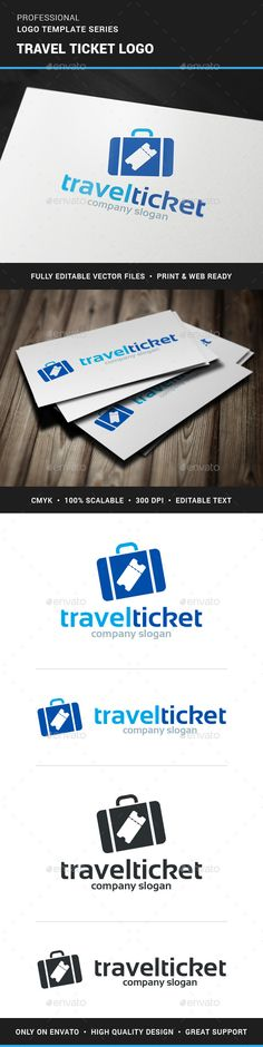 The Travel Tickets Logo Template A modern and creative logo for online tickets and travel related business. All elements can be re