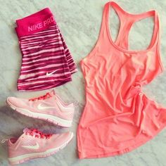 Women's Nike Running Clothes | Workout Clothes | Tank tops | Nike pink running shoes | Nike Pro workout shorts http://www.FitnessGirlApparel.com
