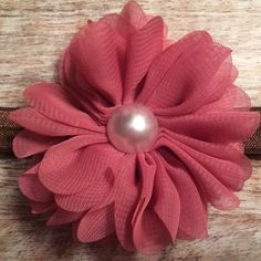 Mauve Flower, Pearl Detail on Brown Stretch Elastic. The perfect color Combo!  $7