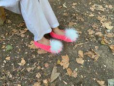 pink Alpaca Soft Slipper for Home,crochet House slipper,Ballet Slipper,knitted home Slipper,big size handmade slipper,adult Christmas Gift Soft Slippers, Summer Slippers, Knitted Slippers, Crochet Home, Crochet Gifts, Mother Gifts, Gifts For Mom, Large Pom Poms, Christmas Gifts For Adults