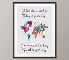 Watercolor WORLD Map Dr Seuss Quote Art Print Extra Large Wall Wedding Gift Poster Giclee inspirational Decor Wall Hanging Canvas