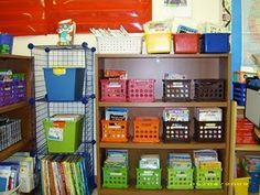 Love the color-coded book bins
