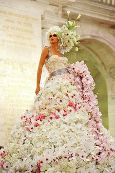Gorgeous flower gown creation by Preston Bailey