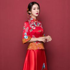Chinese Bride Dress Style 3 - Wedding Chinese Traditional Costume, Chinese Bride, Wedding Costumes, Hanfu, Bridal Looks, Wedding Bells, Fashion Dresses, Wedding Things, Wedding Dresses