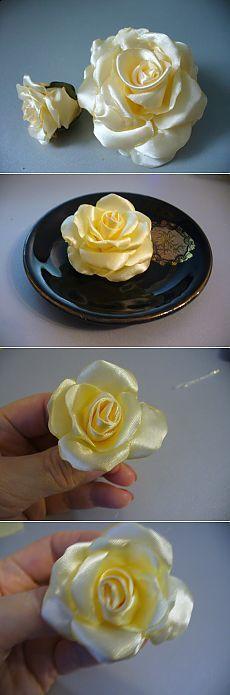 Роза из атласных лент - МК от Алёны Кеда...