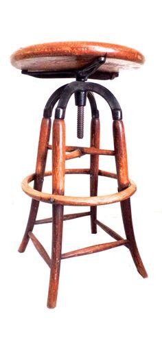 Wood Drafting Stool vintage industrial wood & cast iron adjustable drafting stool