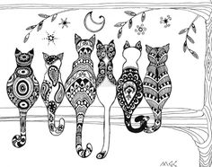 禪繞的貓 Zentangle Cats