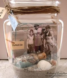 Decorative Beach Vacation Memory Keeping in Jars and Vases (with Photos). Lots of Inspiration here: http://www.completely-coastal.com/2011/07/photo-display-ideas-for-beach-memory.html