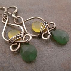 Serpentine and chalcedony sterling silver earrings