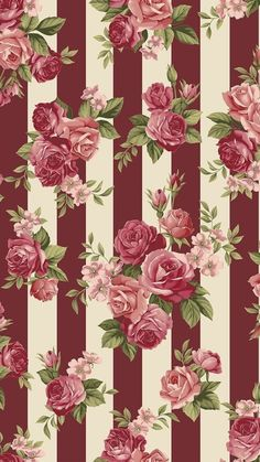 Rosie's Summer collection by STOFfabrics, roses on stripes - Tapeten Ideen Flower Backgrounds, Flower Wallpaper, Mobile Wallpaper, Pattern Wallpaper, Wallpaper Backgrounds, Striped Wallpaper, Cellphone Wallpaper, Iphone Wallpaper, Decoupage Paper
